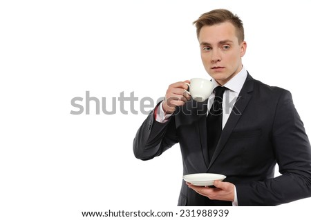 Businessman holding a cup of coffee and thinking.  Problem solving concept. Isolated on white background. - stock photo