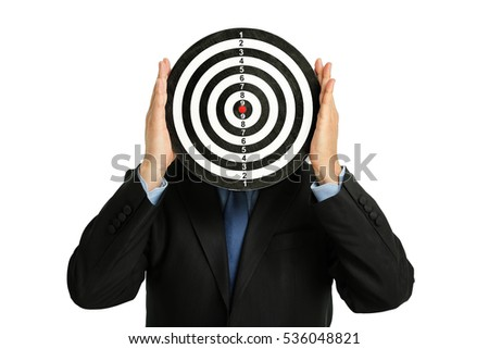 businessman holding a dartboard, abstract business concept