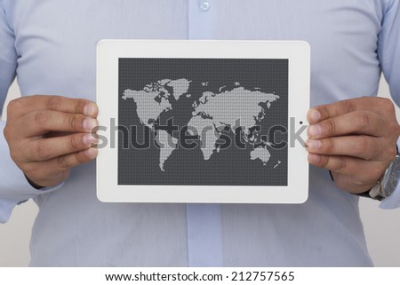 businessman holding a digital tablet with map, isolated on white background