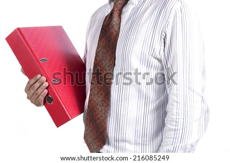 businessman holding a folder Isolated on white background.  - stock photo