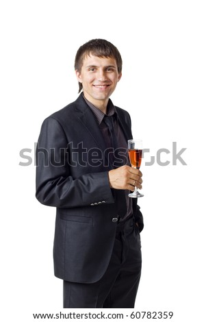 Businessman holding a glass of wine. Isolated on white background - stock photo