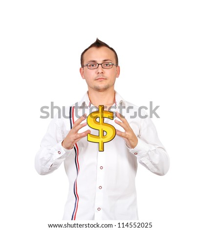 Businessman holding a gold dollar sign - stock photo