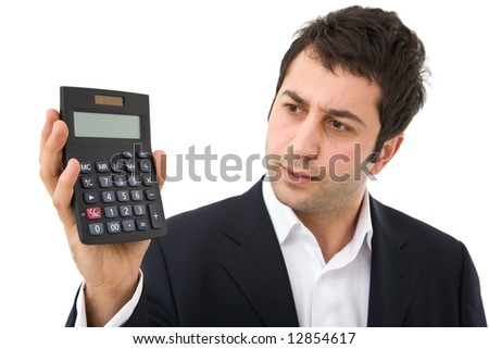businessman holding a modern calculator on white background