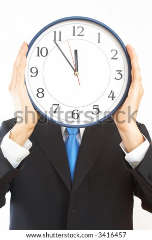 businessman holding a modern clock on white background