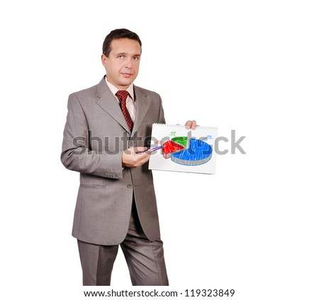 businessman holding a placard with pie chart - stock photo