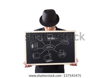 Businessman holding a sign. Cloud Computing. - stock photo