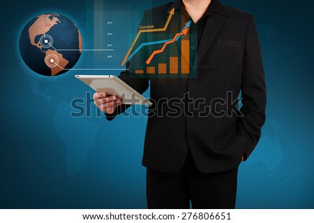 businessman holding a tablet show infographic with business solution concept on virtual screen. - stock photo