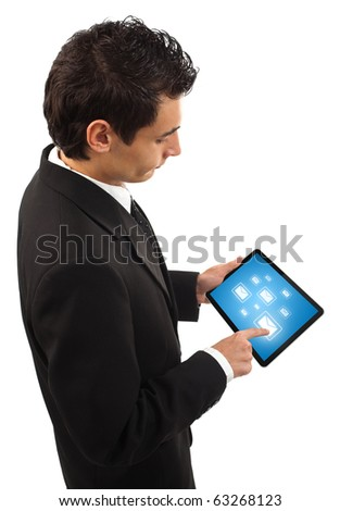 Businessman holding a touchpad pc, one finger touches e-mail symbol, isolated on white - stock photo