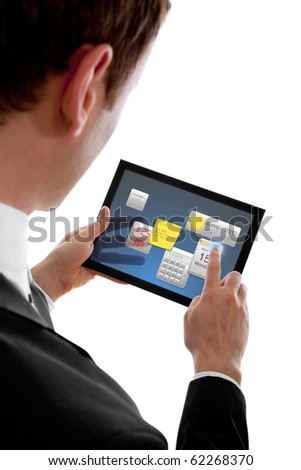businessman holding a touchpad pc, using little programmes, isolated on white - stock photo