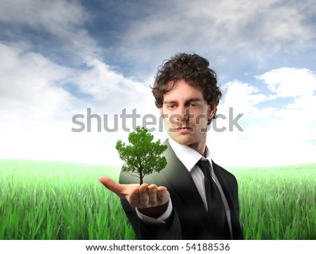Businessman holding a tree in his hand with green meadow on the background - stock photo
