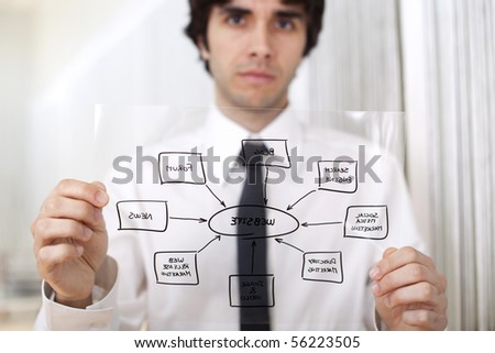 Businessman holding a website diagram solution (selective focus with shallow DOF). - stock photo