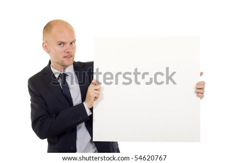 Businessman holding a white board, looking to camera, isolated on white background