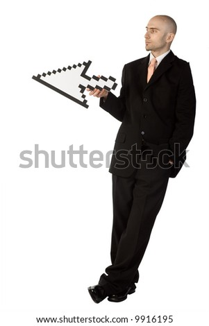 Businessman holding a white mouse cursor or pointer.