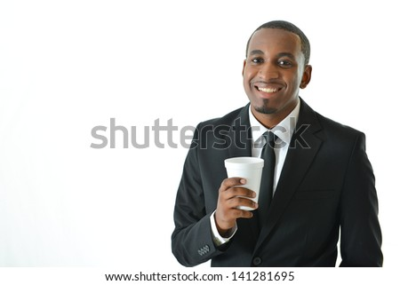 Businessman holding beverage - stock photo