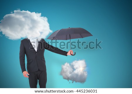 Businessman holding black umbrella beside him against blue vignette background - stock photo