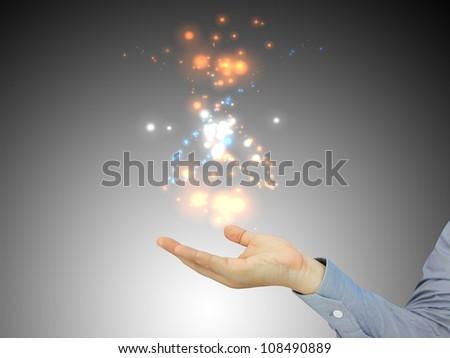 Businessman holding blank - stock photo