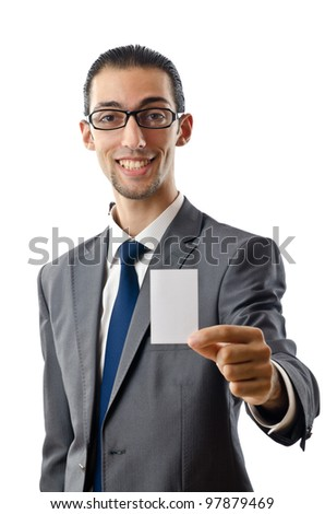 Businessman holding blank message