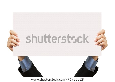 businessman holding blank sign and hand on white - stock photo