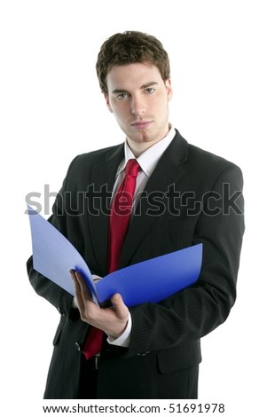businessman holding blue open folder over white studio background - stock photo