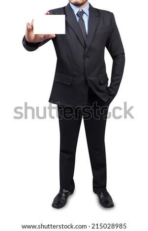 businessman holding business card blank isolated on white background with clipping path - stock photo