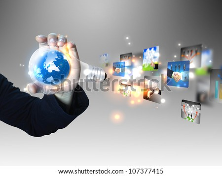 businessman holding business idea - stock photo