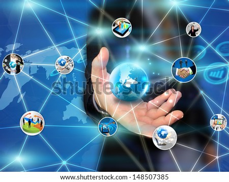 businessman holding business network - stock photo