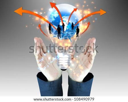 businessman holding business team - stock photo
