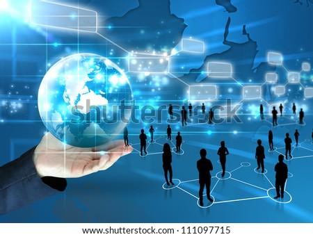businessman holding business world - stock photo