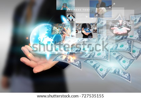 Businessman holding  business world with dollar