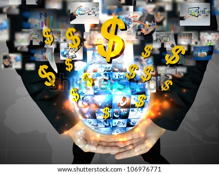 businessman holding business world with US dollar sign - stock photo