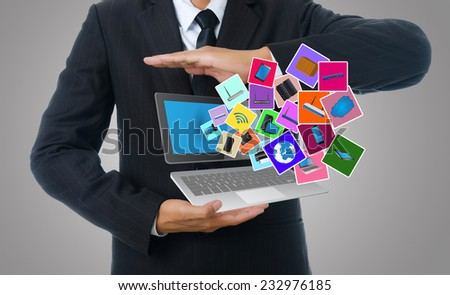 Businessman Holding Computer Icons, For Business and Technology Concept, Isolated on the white background. - stock photo