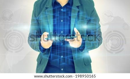 Businessman holding cubic  - stock photo