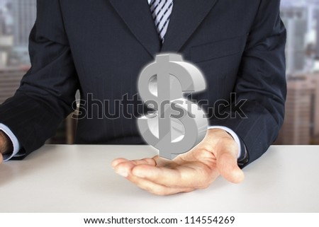 businessman holding 3d dollar sign in the hand - stock photo