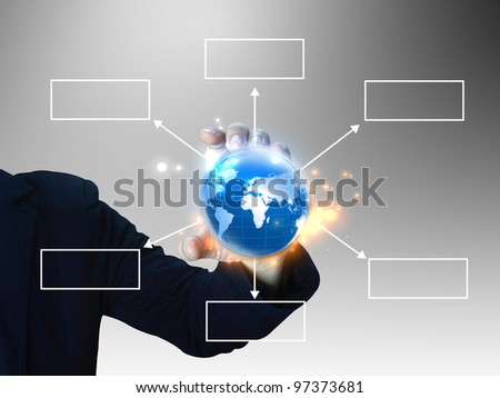 businessman holding diagram - stock photo