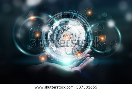 Businessman holding digital data on hologram screen in his hand 3D rendering