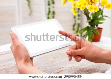 Businessman holding digital tablet - Work Manager at the table. - stock photo