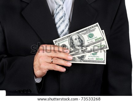 Businessman holding dollar banknotes in his hand, isolated