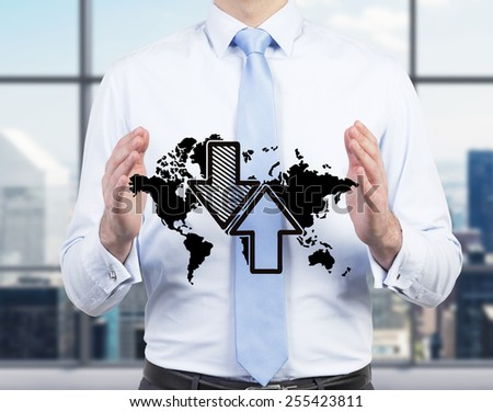 businessman holding drawing world map with arrow - stock photo