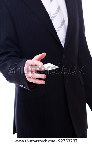 Businessman holding empty bussines card in his hand