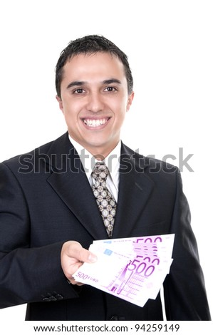 Businessman holding euro bills on white background - stock photo