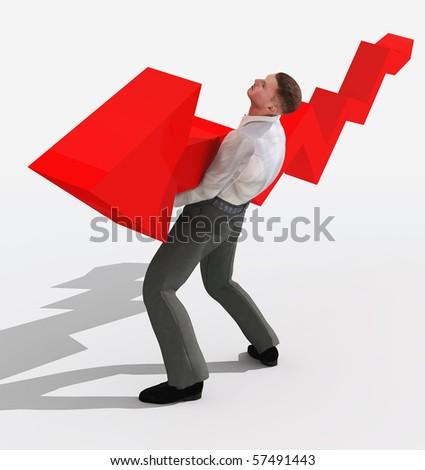 businessman holding falling graph - stock photo