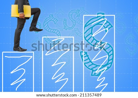 businessman holding files climbing on bar graph and money concept background - stock photo