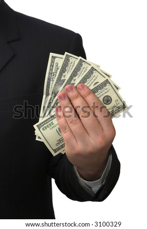 Businessman holding five banknotes of american dollars - stock photo