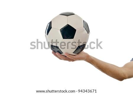 Businessman holding football on white - stock photo