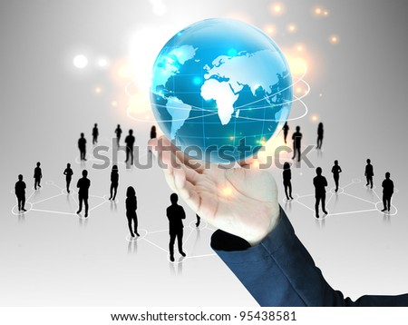 businessman holding  global with people team - stock photo