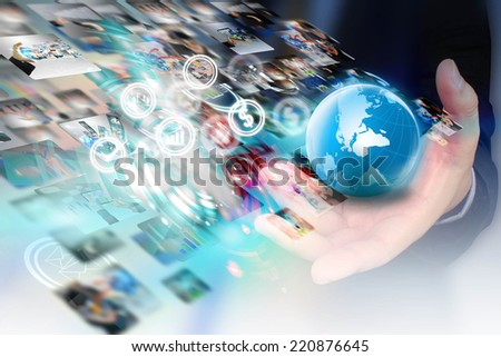 businessman holding globe,business world.  - stock photo