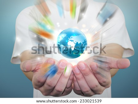 businessman holding globe,business world.