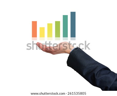 Businessman holding graph in his hand . White - Stock Photo