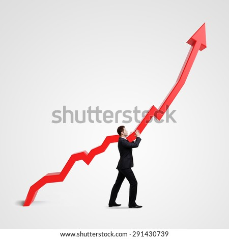 businessman holding graph on a white background - stock photo