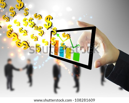 businessman holding graph with US dollar sign - stock photo